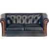Lorrain Modern Faux Black Modern Leather Sofa with Wood Trim