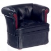 Modern Art Deco Black Faux Leather Arm Chair with Wood Trim