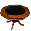 Miniature Wood and Faux Leather Poker Card Game Table