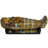 Royal Egyptian Golden Sarcophagus on Base with Mummy