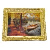 Large Rowboat and Bicycle Picture in Ornate Gilded Frame