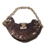 Prestige Leather Handbag Purse with Heart Clasp Gold Chain