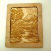 Prestige Leather Hand Carved Forest Mountain Stream Wood Art