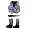 Prestige Leather Handpainted Western Vest Belt and Cowboy Boots