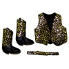 Prestige Leather Western Gold Metallic Vest Belt And Boots