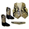 Prestige Leather Western Snakeskin Vest Belt And Boots