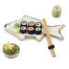 Sushi Set on Fish Shape Platter with Chopsticks