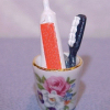 Reutter Porcelain Rose Bathroom Toothbrush Set