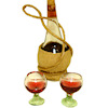 Reutter Chianti Wine Bottle Filled with Liquid and Glasses Set