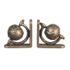 Antiqued Brass Globe Bookends