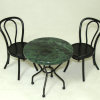 Green Marble Top Metal Garden or Diner Table Set