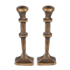 Antique Brass Square Base Candlesticks