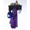 Halloween Witch and Wizard Wall Rack with Skull - Purple Robe
