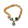 Artisan Crafted Wearable Necklace with Emerald Green Crystals