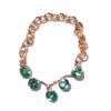 Artisan Crafted Wearable Necklace with 5 Green Crystals