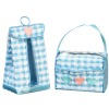 Handcrafted Blue Fabric Diaper Box and Stacker Set