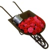 Wheelbarrow with Pink and Red Flowers Watering Can and Trowel
