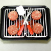BBQ Hamburgers Cooking on a Hibachi Barbeque Grill Set