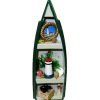 Handcrafted Filled Green Row Boat Curio Shelf Unit
