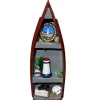 Handcrafted Filled Red Row Boat Lighthouse Curio Shelf Unit