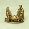 Tiny Gilded Metal Christmas Nativity Scene