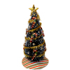 Decorated Candy Cane Christmas Tree with Gold Garland