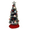 Decorated Santa Claus Christmas Tree With Silver Garland