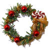 Decorated Christmas Wreath With Peppermint and Ball Ornaments