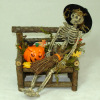 Halloween Skeleton Witch on Bench