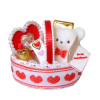 Valentine Heart Bear Gift Basket