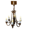 Working Dark Antiqued Copper Candle Chandelier Battery Operated