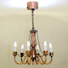 Working 6 Arm Antique Copper Candle Chandelier Battery Operated