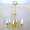 Working Six Arm Golden Candle Chandelier - Battery Operated