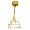 Working Gold and White Scalloped Ceiling Lamp - Battery Op