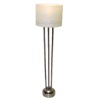 Working Drum Shade Platinum Finish Floor Lamp - Battery Op