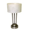 Lighting Drum Shade Platinum Finish Table Lamp Battery Operated