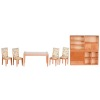 Modern Wood Dining Table Upholstered Chairs and Modular Storage