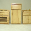 Oak Kitchen Appliance Set Refrigerator Stove and Sink