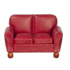 Burgundy Leather Loveseat