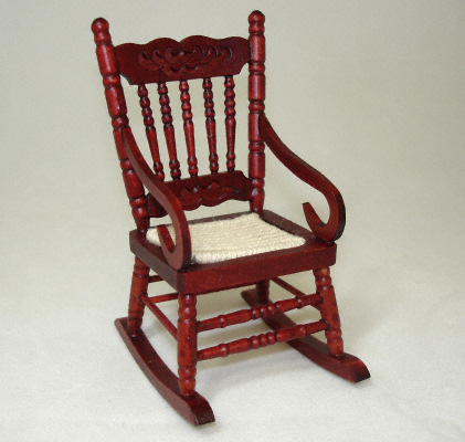 Solid Wood Mahogany Rocker with Rope Seat