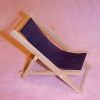Wood and Black Canvas Folding Lounge Beach Chair