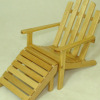 Oak Adirondack Chair and Foot Rest Set