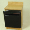 Black Dishwasher in Oak Cabinet