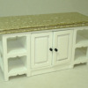 White Kitchen Island with Faux Marble Top