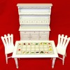 Fruit and Vegetable White Wood Table Kitchen Set
