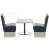 Diner Table and Black Booth Seats Set