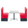 Diner Table and Red Upholstered Booth Seats Set
