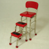 Red Kitchen Stool and Stepstool Set
