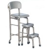 1950s Style Silver Metal Kitchen Stool and Stepstool Set
