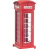 Red Wood Telephone Phone Booth with Opening Door